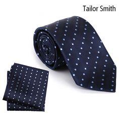 Tailor Smith Handmade Pure Silk Tie Pocket Square Woven Navy Blue Polka Dot Necktie Hanky Set Mens Formal Wedding Dress Cravat