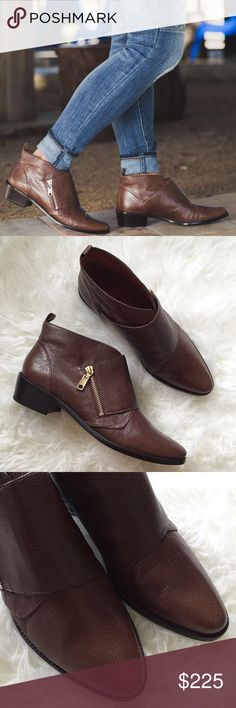 "Rebecca Minkoff Brown Leather Ankle Boots Worn once, barely any wear, comes with box. True to size. Selling because I'm a size 8 and they were a little big in the back for me. Beautiful brown embossed leather ankle boots with gold tone accent zipper on size. Minor crease marks at toe. Chunky 2"" heel. ❌NO TRADES OR PAYPAL❌ Rebecca Minkoff Shoes Ankle Boots & Booties"