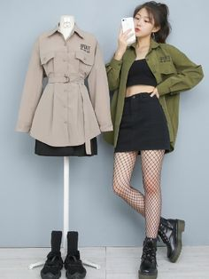 Curvy Girl Outfits, Edgy Outfits, Korean Outfits, Classy Outfits, Fashion Outfits, Cute Fashion, Asian Fashion, Retro Fashion, Girl Fashion