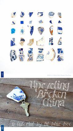 Créations avec des morceaux de porcelaine. Broken china projects