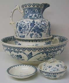 Clifton FW & Co blue and white transfer printed toilet set of jug, large bowl.