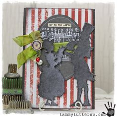 Tammy Tutterow Tim Holtz Idea-ology Sizzix Joy to the World Card uses the new Tim Holtz Victorian Carolers die, distress stains, inks and idea-ology.