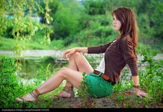Girl by the lake - stock photo