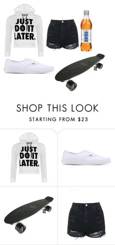 """""""Penny boarding"""" by tillysfashion ❤ liked on Polyvore featuring WearAll, Vans, Topshop and pennyboard"""