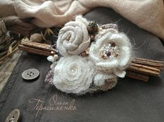 Fabric brooch in the style of a boho textile broach bege