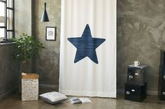 Navy Star Wide Black Out Fabric for Curtains one by cottonholic