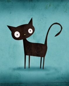 Black cat with big eyes illustration. I Love Cats, Crazy Cats, Cool Cats, Gatos Cool, Black Cat Art, Black Cats, Black Kitty, Photo Chat, Cat Drawing