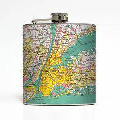 New York NY Hip Flask Brooklyn Bronx Map Wedding by LiquidCourage