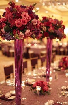 floral, centerpieces, flowers, rose, dutch hydrangea, elegant, hot pink, laskspur, magenta, mauve, plum, spider mum, sparkly, monogram, purple, wedding, Naples, Florida