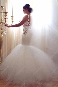 270.00$  Watch now - http://viotb.justgood.pw/vig/item.php?t=7hohqnt2222 - White Dropped Waist Mermaid Wedding Dress With Lace Applique Bodice