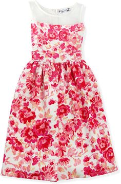 Speechless Girls' Illusion-Neck Floral Dress