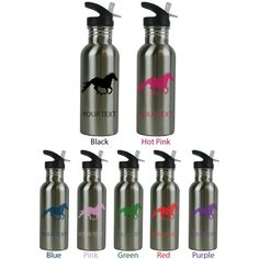 "Personalized Custom Horse Stainless Steel Sublimation Water Bottle with Straw Top 20 Ounce 600ML Sport Water Bottle Customizable Holiday Gift or Birthday Present! Contact Seller for Custom Text and Color Request or Leave a Gift Message at Checkout!. This stainless steel sport water bottle comes with FREE personalization. Add your name, a date, your initials, your pets name, your kids name or anything else you can think of! Please leave a message in the ""ADD GIFT OPTIONS"" section at…"