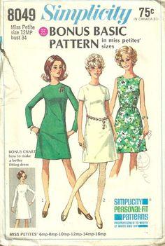 Simplicity 8049 1960s Miss Petite Bonus Basic A Line Dress Pattern Womens Vintage Sewing Pattern by patterngate.com
