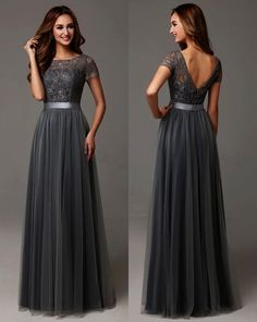 Grey Long Modest Bridesmaid Dresses With Cap Sleeves Lace Tulle Short Sleeves Sheer Neckline Formal Wedding Party Dress Real Long Bridesmaid Dresses, Modest Dresses, Trendy Dresses, Nice Dresses, Formal Dresses, Prom Dresses, Bridesmaid Ideas, Wedding Bridesmaids, Short Dresses