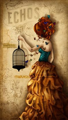 """Movezerb, """"La belle aux papillons"""" (""""Beautiful Butterflies""""--or butterfly--not sure which. One of my favorites. Illustrations, Illustration Art, Arte Country, Arte Sketchbook, Sign Printing, Belle Photo, Love Art, Urban Art, Art Journals"""