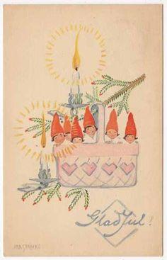 Stenberg Artwork Postcard of Gnome or Elf Children in Christmas Basket | eBay