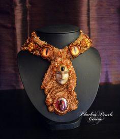 FREYJA'S NECKLACE  Bead embroidery Necklace by PhoebesPearlsGeneve, $585.00