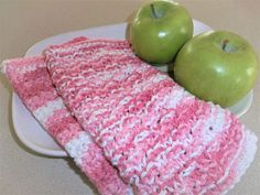 Dish Cloths - Hand Knit and Crochet Dish Cloths - Wash Cloths - Shades of Pink with White -Kitchen Accessories - Gift Idea