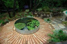 Garden Pond Design on Stock Tank Pond J Peterson Garden Design Little Gardens, Small Gardens, Outdoor Gardens, Water Gardens, Garden Pond Design, Landscape Design, Ponds Backyard, Backyard Landscaping, Landscaping Ideas