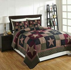 Plum Creek Queen Quilt Set, by Olivia's Heartland. Add warmth and comfort to your country primitive bedroom with this patchwork quilt set. Rustic Quilts, Primitive Quilts, Primitive Homes, Country Quilts, Primitive Decor, Primitive Pillows, Primitive Country, Western Quilts, Colchas Quilt