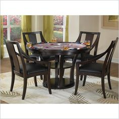 Home Styles Rio Vista 5 Piece Game Table Set - Invite friends or family over for a game night with Home Styles' Rio Vista game table set The dining table surface quickly turns into a felt-lined game table surface for eight with an easy flip of the table top. Constructed of poplar solids and birch veneers in a multi-step Espresso finish, this table will live up to its double function for years to come.