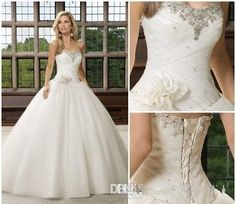 2015 Elegant Sweetheart Ball Gown Wedding Dresses Corset Beading Lace Up Back Summer Wedding Gowns Full Length Bridal Dresses Plus Size