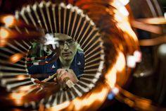 US Navy engineer rewinds an air compressor
