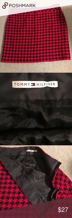 """Tommy Hilfiger✨Houndstooth Skirt Beautiful lined skirt in a blue red and black. Excellent condition. Does not have a size tag, nor fabric content. Please use measurements for sizing. Side zipper. Approximate measurements 40"""" waist, 20 1/2"""" length, 47"""" hips. It seems it could be wool, but I'm not certain. Please understand, I'm not responsible for fit. Tommy Hilfiger Skirts"""