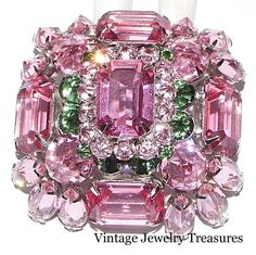 Vintage Signed SCHREINER Pink & Green Glass Rhinestone Domed Pin COLLECTIBLE #Schreiner