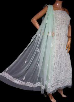 ISHIEQA's Sea Green Georgette Chikankari Dress Material-KL0205D White C, Black B, Anarkali Dress, Green Cotton, Green Dress, Cotton Dresses, Kurti, Pure Products, Sea