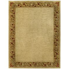 "Solid French Border Ivory Red 7'10"" x 10'6"" Area Rug Pasha Collection 