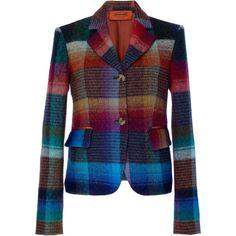Missoni Plaid Blazer ($2,625) ❤ liked on Polyvore featuring outerwear, jackets, blazers, missoni, plaid, paule ka, plaid blazers, blazer jacket, plaid jacket and tartan jacket