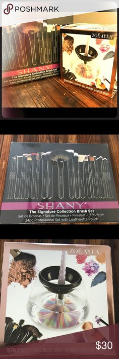zoe ayla electric cleaner & Shany brushes zoe ayla electric makeup brush cleaner & Shany signature brush set. Brand new. Never been open! I'm far from a make up artist so I don't need them. Shany Makeup Brushes & Tools