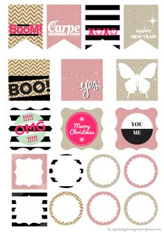 Journal Stickers Black and Glitter Design by SparklingShoesGir
