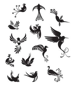 bird artistic silhouettes for tattoos Mini Tattoos, Cute Tattoos, Body Art Tattoos, Bird Nail Art, Bird Art, Images Victoriennes, Nail Art Designs, Tattoo Designs, Vogel Tattoo