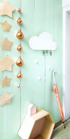 DIY cloud as a keyholder | 101 Woonideeën December 2014