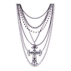 Stone cross chain necklace ❤ liked on Polyvore