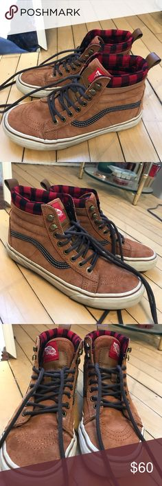 Vans Sk8-Hi MTE Glazed Ginger/Plaid, W 9, M 7.5 Only worn a couple of times, perfect condition! Weatherproofed and great for winter and summer! Durable. Women's size 9, Men's size 7.5. Make me an offer or add to a bundle for a discount! Vans Shoes Sneakers