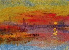 Prefiguring Impressionism : the Romantic Joseph Mallord William Turner Watercolor Sunset, Watercolor Landscape Paintings, Abstract Landscape, Joseph Mallord William Turner, Covent Garden, Photographie Street Art, Turner Watercolors, Turner Painting, Johannes Vermeer