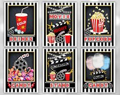 Movie Clipart Movie Night Clip Art Popcorn Clipart Cinema | Etsy Bubble Birthday Parties, Birthday Ideas, Movie Party Decorations, Movie Clipart, Ticket, Movie Party Invitations, Backyard Movie Party, Movie Candy, Movie Night Party