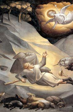 Taddeo Gaddi - Storie della vita di Maria Vergine e dell'infanzia di Gesù:  Annunciazione ai pastori, particolare - 1338 - è considerata la prima scena notturna dell'arte occidentale - Cappella Baroncelli  - Basilica di Santa Croce Firenze