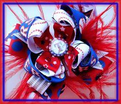 OTT Texas Rangers Bow Boutique Hairbow Baseball by prettypleasebow, $13.50