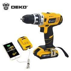 DEKO 18 V DC Nouveau Design Mobile Alimentation Au Lithium Batterie Perceuse sans fil Outils Électriques Mini Drill Perceuse Électrique