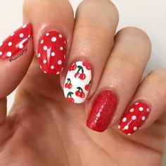Top 10 Fruit Inspired Summer Nail Art- of Fancy Nails, Cute Nails, Pretty Nails, Cherry Nails, Red Nails, Red Summer Nails, Rockabilly Nails, Bow Nail Art, Fruit Nail Art