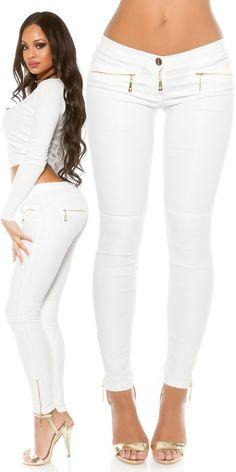 Leginy koženkového vzhledu bílé