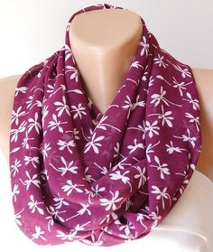 Infinity Scarf Loop Scarf Circle Scarf Cowl Scarf Flower Handmade From White And Plum Purple Chiffon