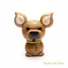Lampwork glass bead chihuahua by Heather Sellers Art Glass. #Chihuahua #dog…