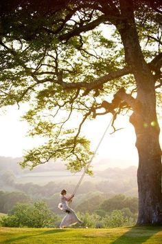Garden wedding swing