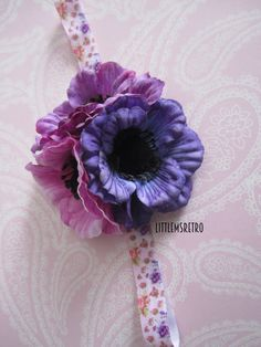 Purple Shades 3 Flower Cluster on Pink & Purple Floral Headband - pinned by pin4etsy.com