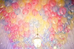 balloon ceiling. My husband did this years ago for our child's birthday. I thought he was brilliant. It looked wonderful.